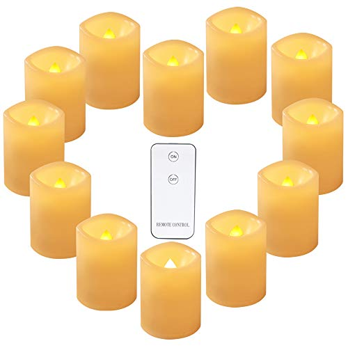 Eldnacele Led Flickering Flameless Votive Tea Lights Candles with Remote Control Battery Operated Set of 12 Electric Outdoor Tealights Candle for Christmas,Xmas Decorations 300+Hours