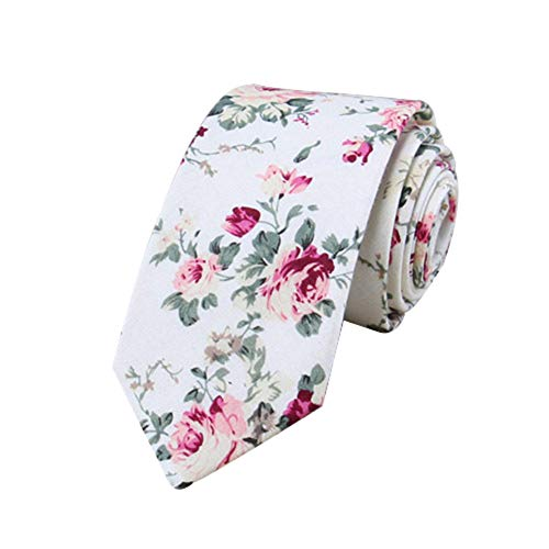JUNGEN Corbata de algodón para Hombre Corbata Estampada de Flores Corbata Estrecha Corbata Informal Corbata Elegante para Novio Size 148 * 6cm (Blanco)