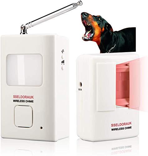 Dog Barking Alarm Motion Detector,Pir Wireless Human Body Walking Sensor Doorbell Door Security Alert System Device for Home or Office Burglar Deterrent