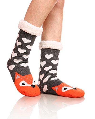 Womens Sherpa Winter Fleece Lining Knit Animal Socks Non Slip Warm Fuzzy Cozy Slipper Socks (Fox)