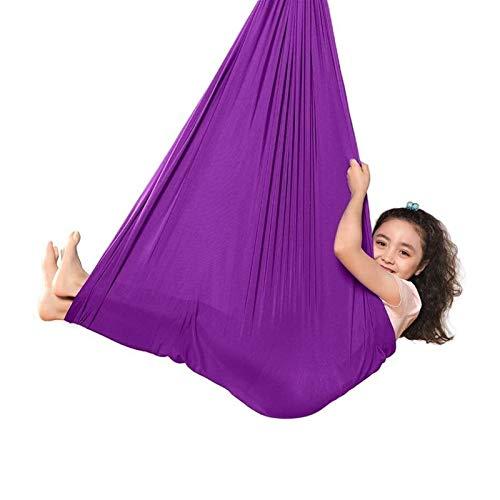 WCX Indoor-Therapie-Schaukel für Kinder, mit Montagematerial, verstellbar, kuschelige Hängematten-Schaukel, wirkt beruhigend auf Kinder mit besonderen Bedürfnissen (Farbe: Lila, Größe: 1,5 x 2,8 m)
