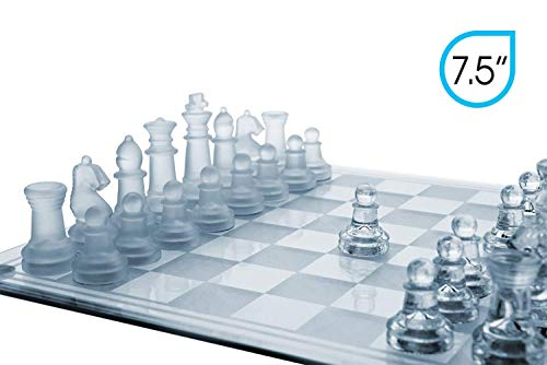 Gamie 7.5 Inch Glass Chess Set, Elegant Design - Durable Build - Fully Functional - 32 Frosted and...