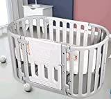 Uenjoy Baby Crib Convertible Newborn Round Crib 5 in 1 Multifunctional Baby Play Bed for Babies and Toddlers, with 6 Universal Lockable Wheels,Grey