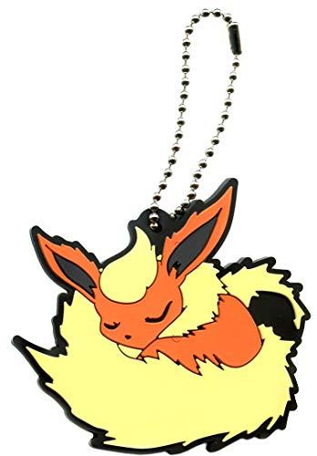 Bandai Pokemon Eevee Special Flareon Character Gacha Capsule Rubber Key Chain Mascot Collection Anime Art Ver.2