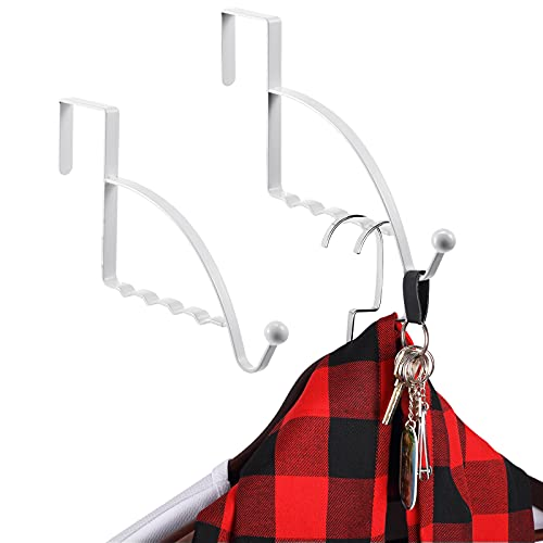 2 Pieces Over Door Hooks Hanger Multi Hanging Storage Organizers Valet Hooks for Coats Clothes Hoodie Hats Scarves Purses Keys Bath Towels Robes and More, White