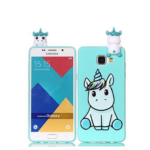 Huiran Cover per Samsung Galaxy A5 (2016) / A510 Silicone Disegni 3D Panda Unicorno Divertenti Custodia Morbido Antiurto Protettiva Slim Case Caso Molle per Donne Ragazze - Unicorno