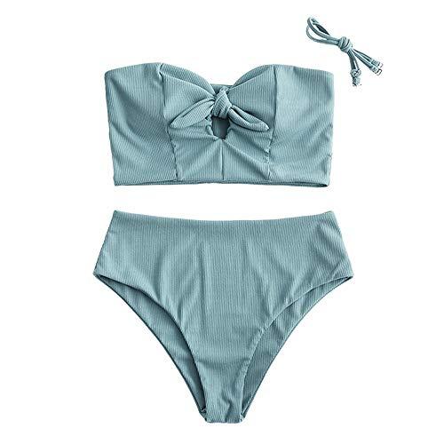 ZAFUL Damen Einfarbiger Trägerlos Bandeau Bikini Set Gerippter gebunden Tankini High Waist Badeanzug(Grün,M)