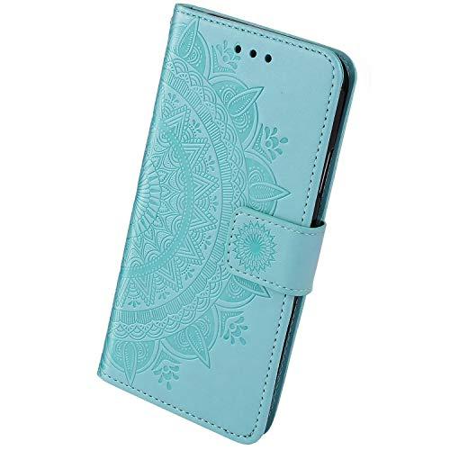 Herbests Étui de Protection Compatible avec Samsung Galaxy M21 Coque Gaufrage de Couleur Unie Housse Clapet Cover de Téléphone Magnétique Portefeuille en Cuir avec Stand et Porte-Carte, Vert