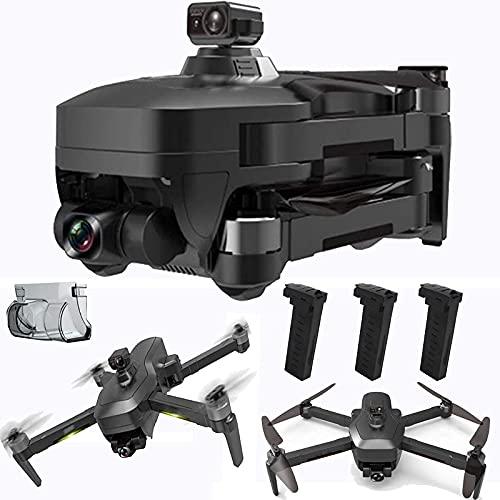 WECDS Drone con Fotocamera Drone cardanico a 3 Assi con Fotocamera EIS Anti-Shake 4k UHD per Adulti 5GHz Live Video Rc Quadcopter Doppia Fotocamera Tre batterie Custodia per Il Trasporto