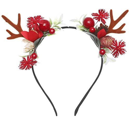 AWAYTR Weihnachten Stirnbänder Rentier Geweih Haarreife - Weihnachten Rentier Ohren Geweih Haarband Verrücktes Kleid Neuheit Zubehör für Damen Mädchen Weihnachtsfeier Kopfschmuck (Geweih + Erdbeere)