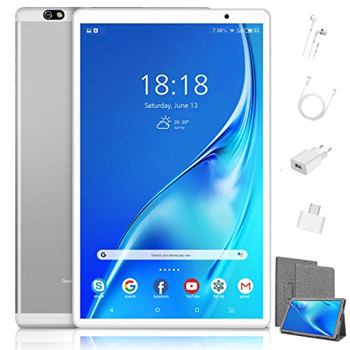 4G LTE Tablette Tactile 10.1 Pouces Pas Cher - Android 10.0 Certifié par Google GMS, 64Go+128Go Stockage, 4Go RAM, 8MP+5MP Caméra, Bluetooth, WiFi, 8000mAh, GPS (Argent)