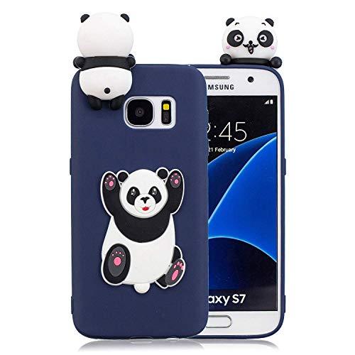 LAXIN Galaxy S7 edge Case, Cute Panda - Blue Samsung Galaxy S7 edge Phone Case, 3D Cartoon Animal Soft Rubber Silicone Back Shell Skin Protective Case Cover for Samsung Galaxy S7 edge
