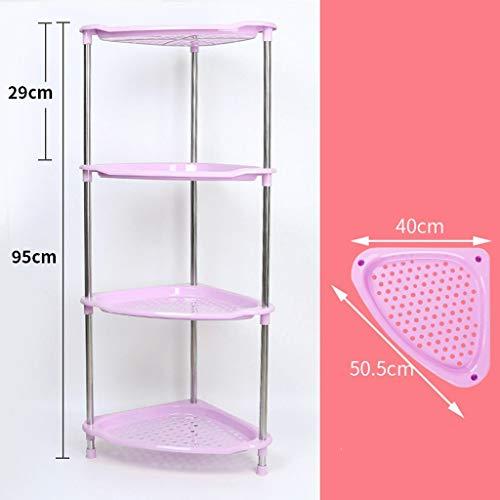 DNKNS Badezimmerregal Badezimmer-Regale Vier Schichten Plastik-Dreieck-Regal-Stand-Lagerregal (Color : PINK)
