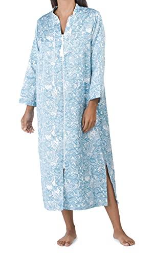 Miss Elaine Brushed Back Satin Paisley Long Zipper Robe (Teal, X-Large)