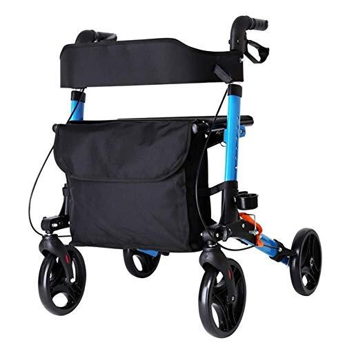 Z-SEAT Multi-Range-Einstellung Leichter, zusammenklappbarer Allrad-Rollator mit gepolstertem Sitz, ergonomischen Griffen und Tragetasche, eingeschränkte Mobilitätshilfe, Bl
