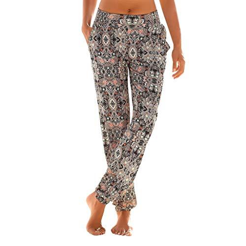 Lulupi Bedruckte Hosen Damen Stoffhose in fließend weicher Qualität,Frauen Haremshosen mit hoher Taille, lockere Bequeme Hosen, Strandhosen für...