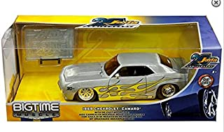 New DIECAST Toys CAR JADA 1:24 W/B - 20TH Anniversary - Bigtime Muscle - 1969 Chevrolet Camaro (Brushed Metal) with DIECAST Mosaic Tile 31073