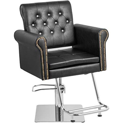 VEVOR Sillas de Peluquería 65 x 50 x 91-105 cm, Sillón Barbero, Silla de Peluquería Hidráulica con Carga 180 kg, Sillones de Peluquería Sillas de Barbero Barber Chair, para SPA Belleza (Negro)