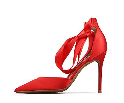 JQfashion Women 'S High-Heels Seide und Satin Students'Pointed Slim-Heels Strap-On Sexy Sandalen A 36