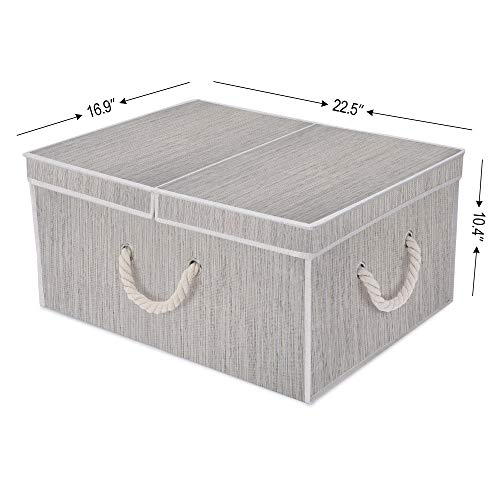 Brown /& Beige Mixing of Gray Bamboo Style Jumbo StorageWorks 65L Storage Box Cloth Box with Double-Open Lid and Strong Cotton Rope Handle
