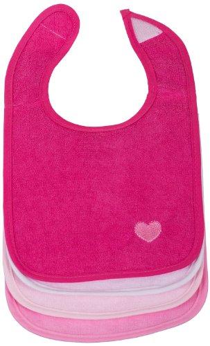 Bieco Baby Lätzchen, 4er Pack mit Klettverschluss in tollen Farben für Junge und Mädchen, Klettverschluss und doppelseitig mit außen Baumwolle, abwaschbar und wasserdicht, Kinderlätzchen