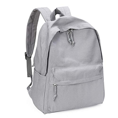 Zicac Unisex DIY Canvas Backpack Daypack Satchel Backpack (Gray, With Side Pocket)