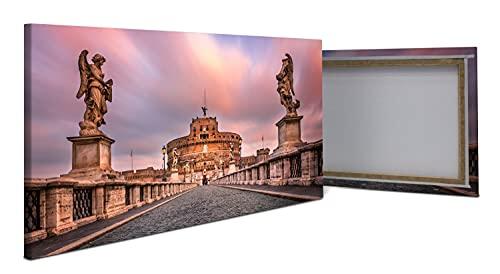 wandmotiv24 Cuadro en Lienzo Puente y Castillo de Sant Angelo, Roma 100x50cm (Ancho x Alto) Foto panorámica Foto Lienzo Mural Foto Regalos M1035