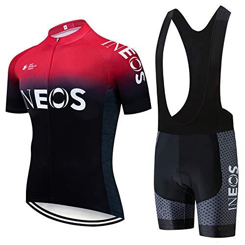 TeckBoo Completo da Ciclismo Uomo per Uomo, Abbigliamento Tuta Sportivo Bicicletta, Estivo Maglia Ciclismo Manica Corta e Traspirante Pantaloncini MTB con 5D Gel Cuscino