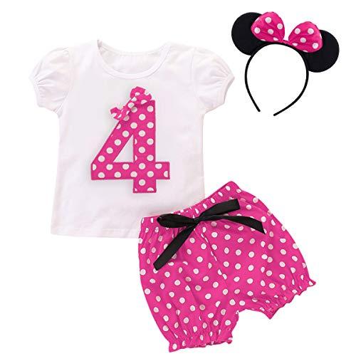 FYMNSI Camiseta de manga corta para bebé y niña, para fiesta de cumpleaños, para verano, con diseño de lunares, pantalones cortos y diadema, 3 piezas, juego de accesorios para fotos de 1 a 5 años
