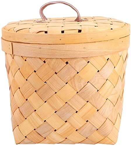 LHY- Cesta de Picnic, Cesta de bambú Tejida con Tapa, Cesta de Almacenamiento de Frutas, Cesta de Regalo, Almacenamiento de Juguetes de Alimentos, Camping de Picnic al Aire Libre Durable