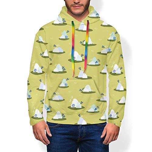 longing-summer Pull à capuche Montagne et Nuage Vert Sweat-shirt à capuche pour homme - - X-Large