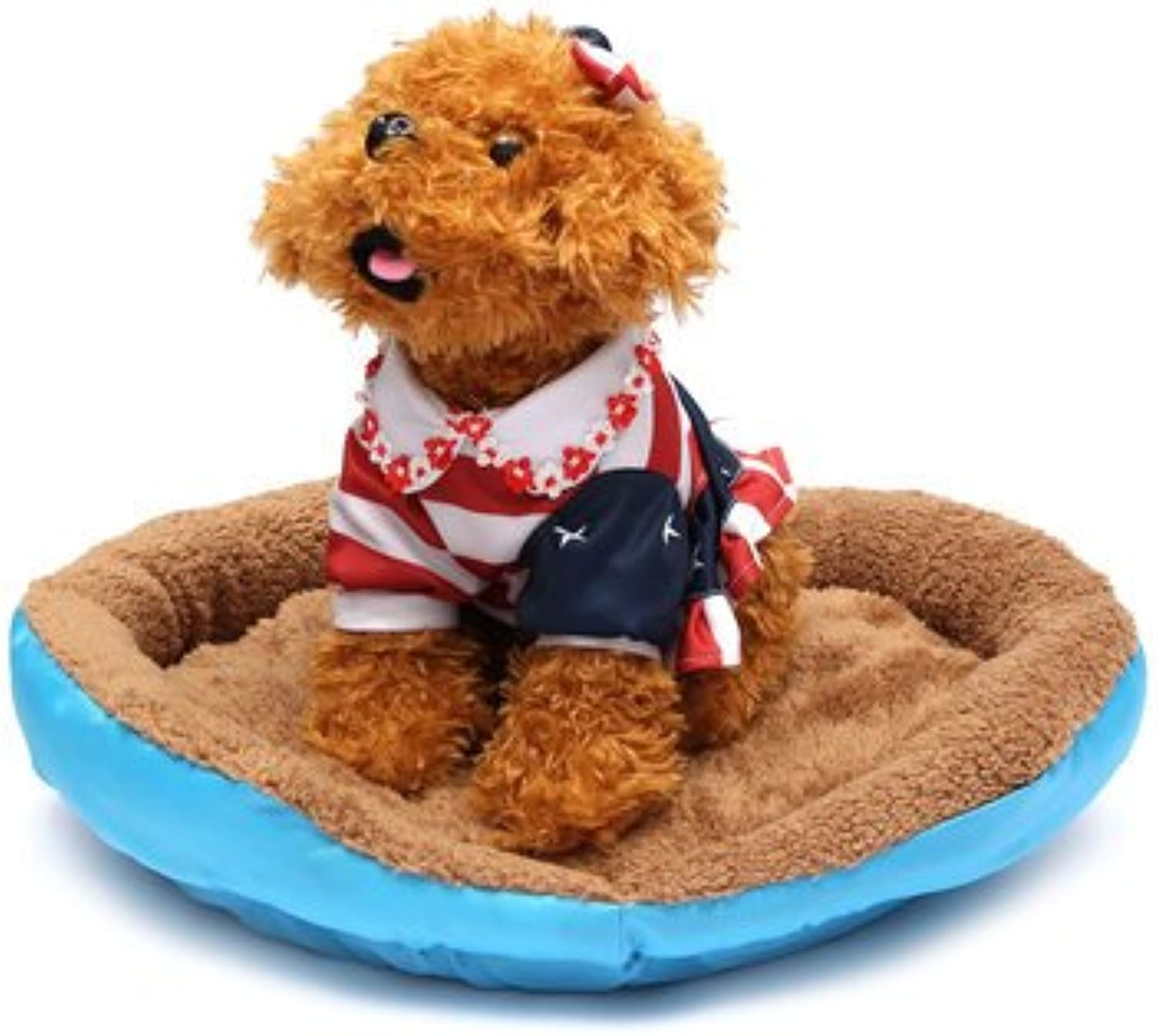 Plush Dog Bed  Pet Bed Plush  Warm Pet Dog Cat Bed Nest Puppy Cozy Plush Cushion House Soft Warm Kennel Mat Blanket  bluee L (Cat Bed Plush)