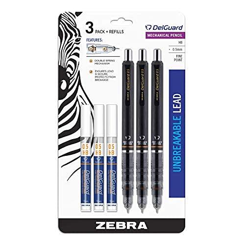 Zebra Pen DelGuard Mechanical Pencil, Fine Point, 0.5mm, Black Barrel, Bonus Lead, Refillable, 3-Pack, 6 piece set (10613)