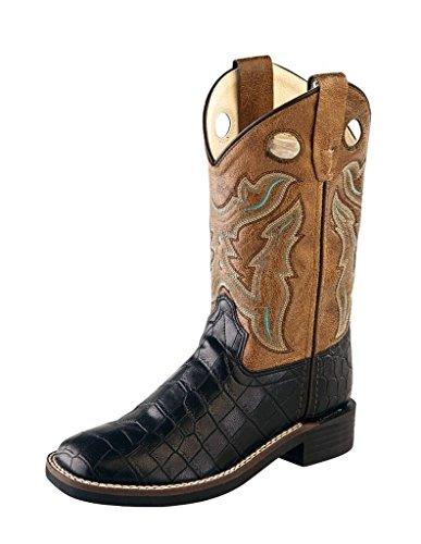 Old West Cowboy Boots Boys Girl Kid TPR 8.5 Infant Black Crackle VB9112