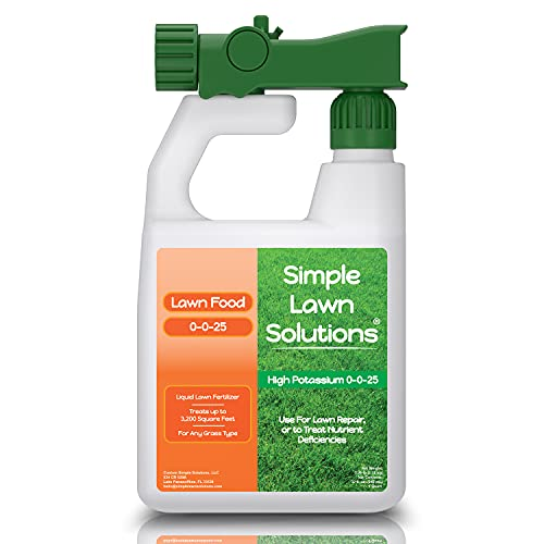 Simple Lawn Solutions - High Potassium Lawn Food Liquid Fertilizer 0-0-25 - Concentrated Spray - Root Growth & Plant Hardiness - Summer and Fall - Any Grass Type