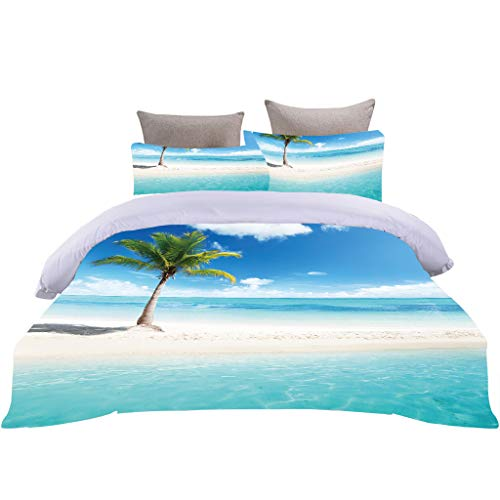Ozean Natural Scenery Bettwäsche-Set 3D Blue Sea Beach Kokosnussbaum Sonnenuntergang Glow Print Bettbezug mit 80x80cm Kissenbezug Romantischer Stil für Paar Bettwäsche (Bunt 1, 135 x 200 cm)