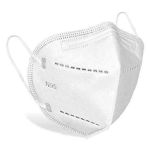 White KN95 Face Mask - 50 Pack, WWDOLL New GB2626-2019 KN95 Mask 5-Layer Breathable Cup Dust Mask White
