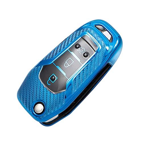 SAQin - Funda de TPU suave para llave de coche, compatible con Ford Fusion Fiesta Escort Mondeo Everest Ranger (azul)