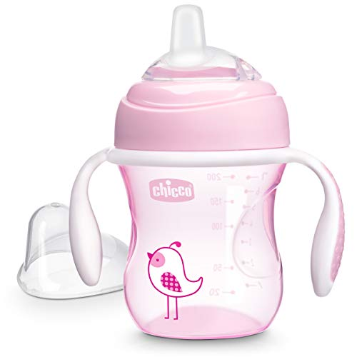 Chicco Soft Silicone Spout Spill Free Transition Baby Sippy Cup, Pink, 7 Ounce/4M+