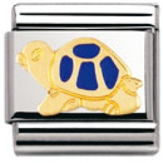 Nomination Composable Classic Land Animals Tortoise Stainless Steel, Enamel and 18K Gold