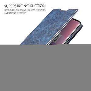 Protector de Pantalla para Xiaomi Redmi Note8 Plus Retro Funda de Cuero magnética Ultrafina Simple con Soporte y Ranuras para Tarjetas y cordón, Zhongxianshangmaoyouxiangongsi (Color : Blue)