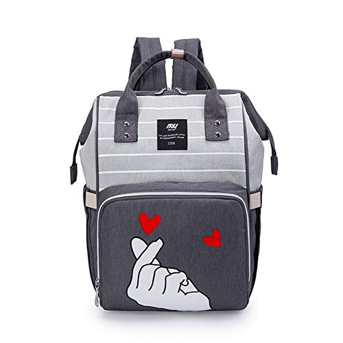 Diaper Bag Changeable Diaper Backpack Mummy Package Large Capacity Stylish Diaper Bag Baby Out with Stylish Shoulder Bag Mummy Bag, Versatile and Stylish, Suitable for mom (Color : Light Grey)