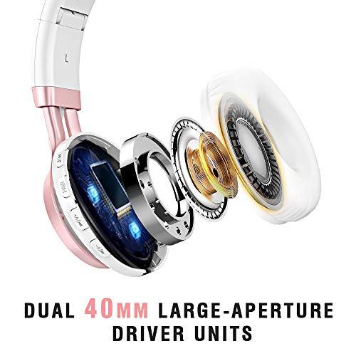 Baseman Wireless Bluetooth Headphones with Mic, On Ear Lightweight Foldable Wired Headphones, Hi-Fi Stereo Earphones Deep Bass Over Ear Headphone for Music Computer Laptop TV PC Kids(Pink White) 5