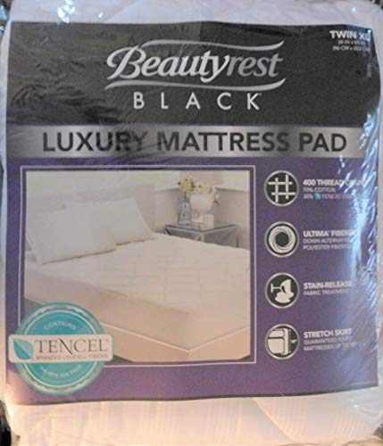 Beautyrest Black Luxury Mattress Pad, White Twin XL 400 Thread Count