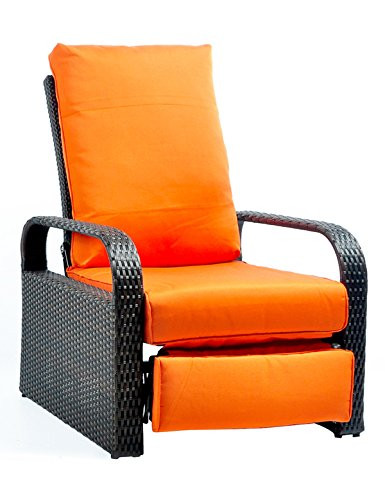 Outdoor Recliner Wicker Patio Adjustable Recliner Chair with 5.11' Cushions and Ottoman,Rust-Resistant Aluminum Frame,All-Weather Resin Rattan, Brown& Orange