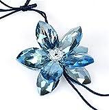 leoye Hermoso colgante de cristal para coche con diseño de flores de la suerte, para colgar en espejo retrovisor, adorno para decoración de abalorios MirPendaye (color: azul)