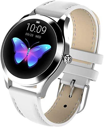 YHQKJ IP68 A Prueba de Agua Smart Watch Ladies Pulsera Linda Monitor de Ritmo cardíaco Monitoreo de sueño Reloj Inteligente Compatible con iOS Android KW10 Banda (Color : Leather White)
