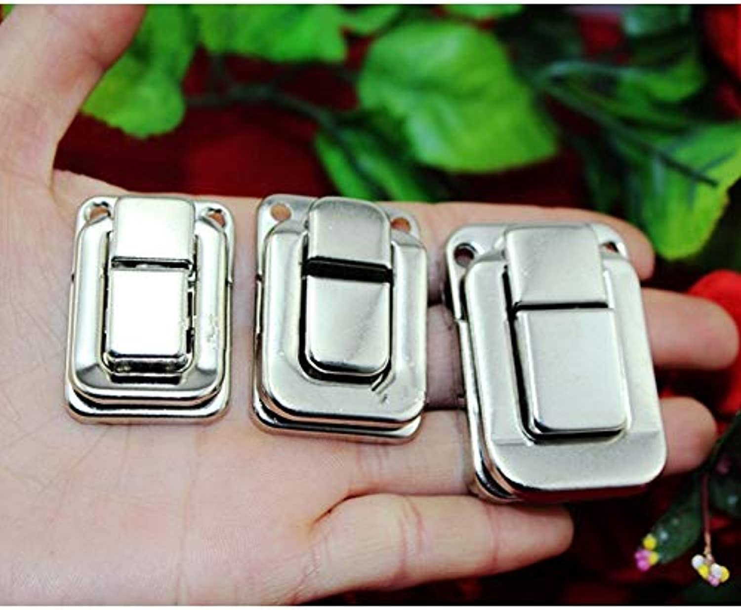 Wholesale Antique Box Buckle Clasp Buckle Metal Square Vintage Wooden Wine Box Locked Buckles,White color,200Sets(color  33x48mm)
