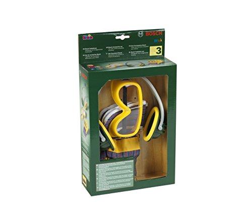 Klein 8535 Set d'accessoires Bosch, 3 pièces | Gants, paire de lunettes de travail et casque anti-bruit | Dimensions de l'emballage : 19,5 cm x 7 cm x 33,5 cm | Jouet pour enfants à partir de 3 ans