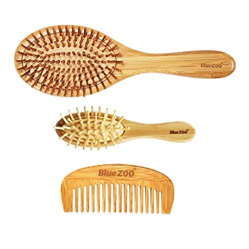 Generic 3x Brosse Démêlante Cheveux Peigne Coussin d'Air en Bois de Bambou Massage Cuir Chevelu
